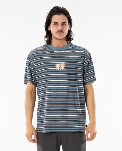 Rip Curl Mind Wave Stripe Tee mid blue