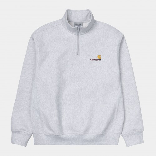 Carhartt Half Zip american Script Sweat ash heath